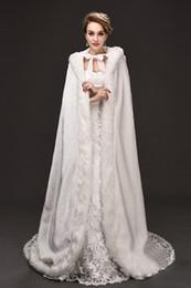 Wholesale White Fur Cloak Wedding - 2018 New Cheap Romantic Hooded Bridal Capes White Long Wedding Cloaks With Satin Wedding Bridal Wraps Bridal Cloaks CPA973