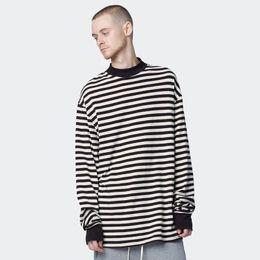Novo Estilo Listrado T-Shirt de Manga Longa dos homens de Alta Neck Oversized Longo Casual Tees Kanye GD Estilo Runway Camisas Streetwear 100% Algodão de
