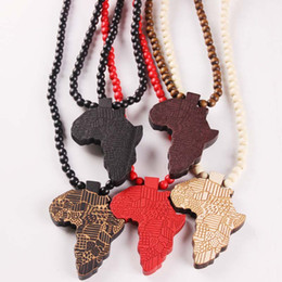 Wholesale Acrylic Necklace Chain - new Africa Map Pendant Good Wood Hip-Hop Wooden NYC Fashion Necklace #MG302