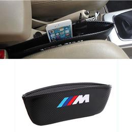 Wholesale Bmw X6 Carbon Fiber - Styling M logo Car Seat Side Storage Organiser Leak-Proof Seat Gap Holder Carbon Fiber for BMW X3 X5 X6 3 5 7 Series