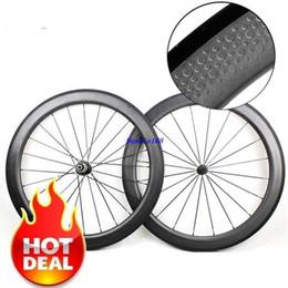 Wholesale 58mm Road Bike - Hot Sale 58mm Depth 25mm Width 700C Dimple Wheels Clincher Tubular wheelset full carbon wheels v brake With Novatec 271 372 Hubs