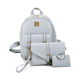 Wholesale Backpack Small Light - 3Pcs Set Small Women Backpacks Female 2017 School Bags for Teenage Girls Black PU Leather Women Backpack Shoulder Bag Purse