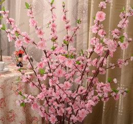 Wholesale Cherry Plum Blossom - NEW Artificial Cherry Spring Plum Peach Blossom Branch Silk Flower Tree For Wedding Party Decoration white red yellow pink color MYY