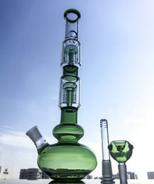 Wholesale hot cool water - Hot Set 2 Colors Cool Smoking Glass Bong With 2 Layer 4-Arm Tree Perc 18.8mm Joint Water Pipes With Straight Perc GB1218-1