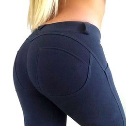 Wholesale Push Up Tights - Women Sexy Hips Push Up Pants Sports Leggings Solid Yoga Pant Compression Gym Running Tights Fitness Elastic Trousers Clothing