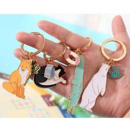 Wholesale Charms Crocodiles - Bear Fox Cat Crocodile Keychain Keyring - Animal Key Chain Ring Holder For Women Girl Bag Charm Metal Pendant Jewelry Aceessories