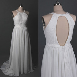 Wholesale Halter Back Wedding Gowns Chiffon - Real Image Cheap Beach Wedding Dress Country Style Halter Sleeveless Ruched Top Open Back Ivory Bridal Gowns with Sweep Train