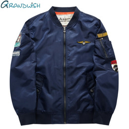 Wholesale Mens Jackets Designs - Wholesale- Grandwish Ma-1 Flight Bomber Jacket Men 6XL Patches Men Pilot Bomber Jacket Patch Design Air Force Bomber Jacket Mens ,PA868
