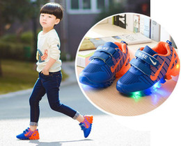 Wholesale Run Led - 2017 New Spring Kids Light up shoes Net Breathable Boys Fashion Sneakers Chaussure Led Enfant Sport Running Boy Girls Children Shoes