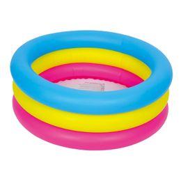 piscina blu colore Sconti All'ingrosso-colorato 3 anelli piscina 76x25cm, giochi estivi colorati, piscina gonfiabile per bambini, piscina per bambini, colori come arcobaleno, blu, giallo, rosso