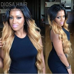Wholesale rooting baby - Diosa Ombre Blonde With Dark Roots Human Hair Full Lace Wig Peruvain Virgin Hair 150% Density Front Lace Wig With Baby Hair