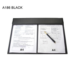 Wholesale Desk Writing - Wholesale- Ever Perfect Leather Office Desk A3 File Paper Clip Drawing & Writing Board Writing Pad Desktop Mat Black