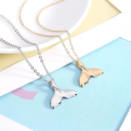 Wholesale Lovely Necklace Wholesale - Best gift New fashionable smoothtail fishtail pendant simple and lovely mermaid clavicle chain WFN619 (with chain) mix order 20 pieces a lot