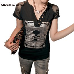 Wholesale Wholesale Sheer T Shirts - Wholesale- 2016 Tops For Women T shirt Skull Print Mesh Parchwork Stretchy Deep V-neck roupas femininas Sheer Tops Plus Size S-2XL T44029