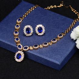 2019 bijoux en diamant bleu Saphir royal en gros bleu CZ diamant dîner de mariage partie ensembles de bijoux de mariage pour les femmes promotion bijoux en diamant bleu