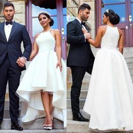 Wholesale High Low Cheap Elegant Dress - Elegant Arabic White High Low Wedding Dresses for Women Satin Beach Bridal Gowns Cheap Vestidos De Novia Plus Size Wedding Reception Dress