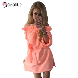 Wholesale Half Sleeve Womens Summer Dress - Wholesale- 2017 Womens Candy Colors Cute Summer Beach Dress Mini half Sleeve Off the Shoulder Sexy Belt Summer Vestido DDUP4