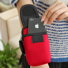 Wholesale Wholesale Sports Bags Cheap - Cheap Armband Cycling Sports Running Wrist Pouch Mobile Cell Phone Arm Band Pink Bags Case Handbag Wallet Double Zip For iphone 5 6
