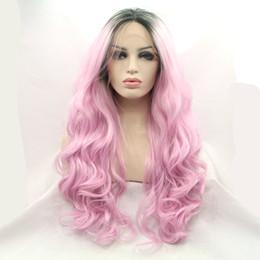 Wholesale Kanekalon Front Lace Blonde - New Arrive Light Purple Color Wavy Synthetic Lace Front Wigs Stylish Heavy Density Heat Resistant Kanekalon Women Wigs