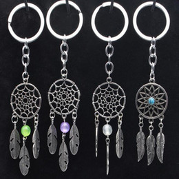 Wholesale Dreamcatcher Jewelry - Dreamcatcher Vintage Silver Dream Catcher Acrylic colored beads feather Keychain Chains Charm Fit Key Chains Jewelry Indian Style leaves