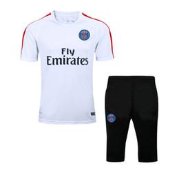 Wholesale Short Sleeve Jerseys - 2017 New Paris Short Sleeve 3 4 Training Suit kits Soccer Jerseys Chandal Survetement Tracksuits Uniforms Sets