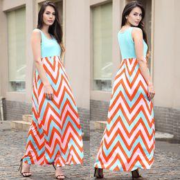 Wholesale Ladies Striped Maxi Dress - New Multi Color Striped Wave Pattern Sleeveless Summer Dress Elegant Lady Long Holiday Beach Maxi Dress Vestidoes Free Shipping