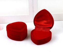 Wholesale Wholesale Heart Shaped Boxes - Velvet Heart-shaped Jewelry Box Ring Box Flocking Plastic Box Foldable For Engagement Wedding Ring Valentine's Day Gift G386