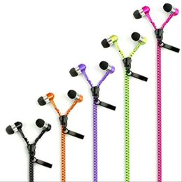 Wholesale Green Purple Headphones - High quality 3.5mm in-ear Stereo Universal Zipper Earphones Headset headphone With Remote Mic for iPhone 6 Samsung s6 HTC LG Cell Phone