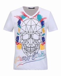 Wholesale Polo T Shirt Men V Neck - V-Neck mens designer t shirts Multicolour Striped Skulls 3D Printed Polo t shirts top quality Short-Sleeved Mens Coats Jackets