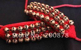 BB-261 Braccialetto di cavigliera di danza indiana fatto a mano, campane di ottone, nero e rosso, mescolare il rullo a campana di Natale con campana all'ingrosso da campane di natale d'ottone fornitori