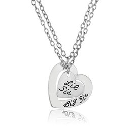 Wholesale Little Girls Jewelry Wholesale - Wholesale-2PC Double Heart Big Lil Little Sis Sister Pendant Necklace Statement Jewelry Family Women Girls Friends BFF Party Choker Gifts