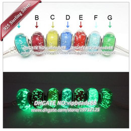 Wholesale Fluorescent Beads - 7pcs S925 Sterling Silver jewelry fluorescent Murano Glass charms Beads Fit European pandora DIY Bracelets & Necklace