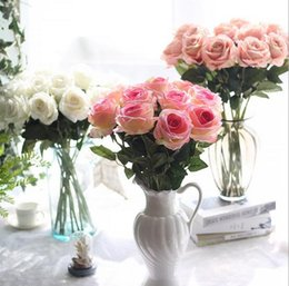 Planta de veludo on-line-Simulação de rosas suprimentos de casamento planta de simulação de veludo rosa flores falsas decoração de casa artesanato