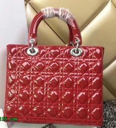 Wholesale Lady Charm Bags - Hot Sell New arrivals High Quality Lady Large Plaid Bag Patent Leather Tote Bag with Charms Lambskin Miss Shoulder Chain Bag