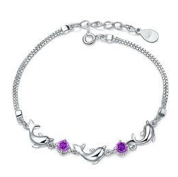 Wholesale Long 925 Sterling Silver Chains - 925 sterling silver bracelet dolphins bracelets diamond snap bracelets leather wrap bracelet About 18 cm long + extended chain 2.5 cm 89