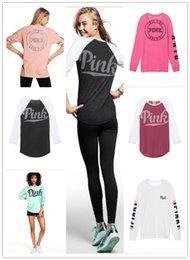 Wholesale Denim Shirt Hoodie - 7 colors hoodies short long sleeve T-Shirt Love Printed vest camis pink O-Neck Sexy T Shirt girls women Tops in stock
