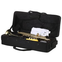 Wholesale gold brass trumpet - wholesale ammoon Trumpet Bb B Flat Brass with ammoon AMT-01GB 3in1 Metro-Tuner