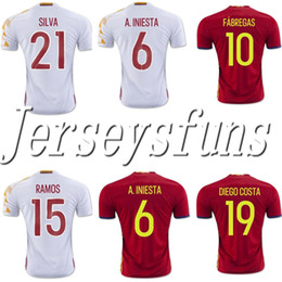 Wholesale Spain National Team - 2016 Cup Soccer Jerseys Team National Jersey Spain Home Away Jersey Red White S-XL Jersey Thai Version High Quality