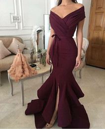 Wholesale evening dresses red wine - 2018 Burgandy Mermaid Prom Dresses with Off Shoulder V Neck Sleeveless Split Floor Length Ruching Bow Belts Sexy Wine Trumpet Evening Gowns