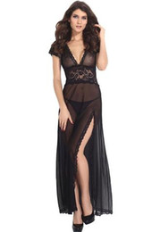 Wholesale White Sheer Night Gowns - Long Dressing Gown V neck Split with G String,Women Sexy Long Dressing Night Gown Sheer Transparent Dress Sleepwear Lingerie +Thong Set