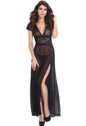 Wholesale Transparent Nightgowns Women - Long Dressing Gown V neck Split with G String,Women Sexy Long Dressing Night Gown Sheer Transparent Dress Sleepwear Lingerie +Thong Set