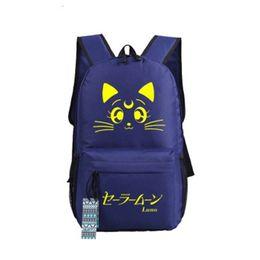 Saco Student ombro Malidaike Anime Sailor Moon Canvas Linda Cat Bag Junior High School Cosplay presente Backpack de