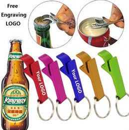 Wholesale new personalized - New 200pcs key chain metal aluminum alloy keychain ring beer bottle opener Openers Tool Gear Beverage custom personalized pay extra