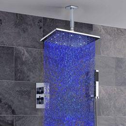 "Wholesale Led Shower Head Mixer - Thermostatic Mixer Valve Bathroom Shower Set 8"" Water Power LED Brass Shower Head (Ceiling Mount) Faucet Set"