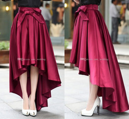 Wholesale High Waisted Mini Skirts - Fashion Burgundy High Low Women Skirts High Waisted Ruched Satin Party Skirts Mini Length High Quality Skirt