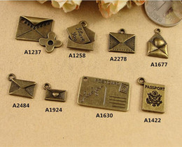 Wholesale Word Stamped Wholesale Charms - ZAKKA handmade Vintage DIY jewelry alloy bronze ornaments envelopes passport stamps charms, Love you word postcard pendants heart flower new