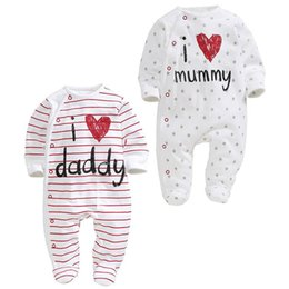 Wholesale I Love Clothes Baby - Retail Baby Boy Girl onesies I Love Papa Mama Stripe Love Heart Long Sleeve Rompers Toddler Clothing HY165