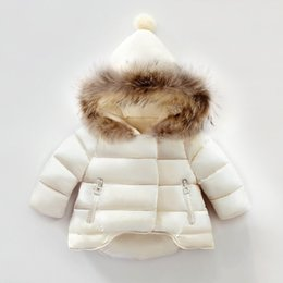 Wholesale kids white fur coat - Winter New Children Warm Coat Real Racoon Fur Baby Boys Girls Clothing Outfit Cotton Padded Jacket Outwear Kids Hooded Clothes