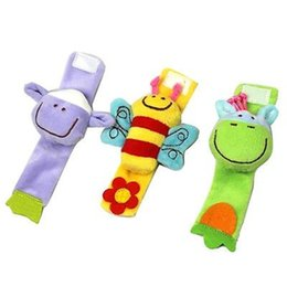 Wholesale Soft Toy Sheep - Wholesale- Hot sale Lovely Soft Plush Baby Wrist Rattlees Toy Hands Finder Bee & Sheep & Donkey