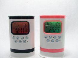 pluma verde g Rebajas Reloj de alarma de música natural Colorido titular de pluma de calendario pluma pequeña, multifunción, pluma de alarma, pluma